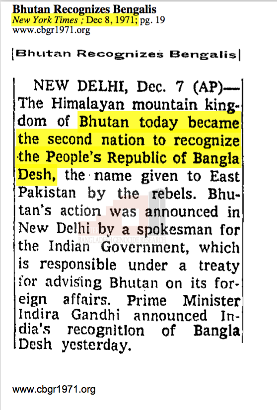 New York Times, December 8, 1971 - Bhutan Second Country