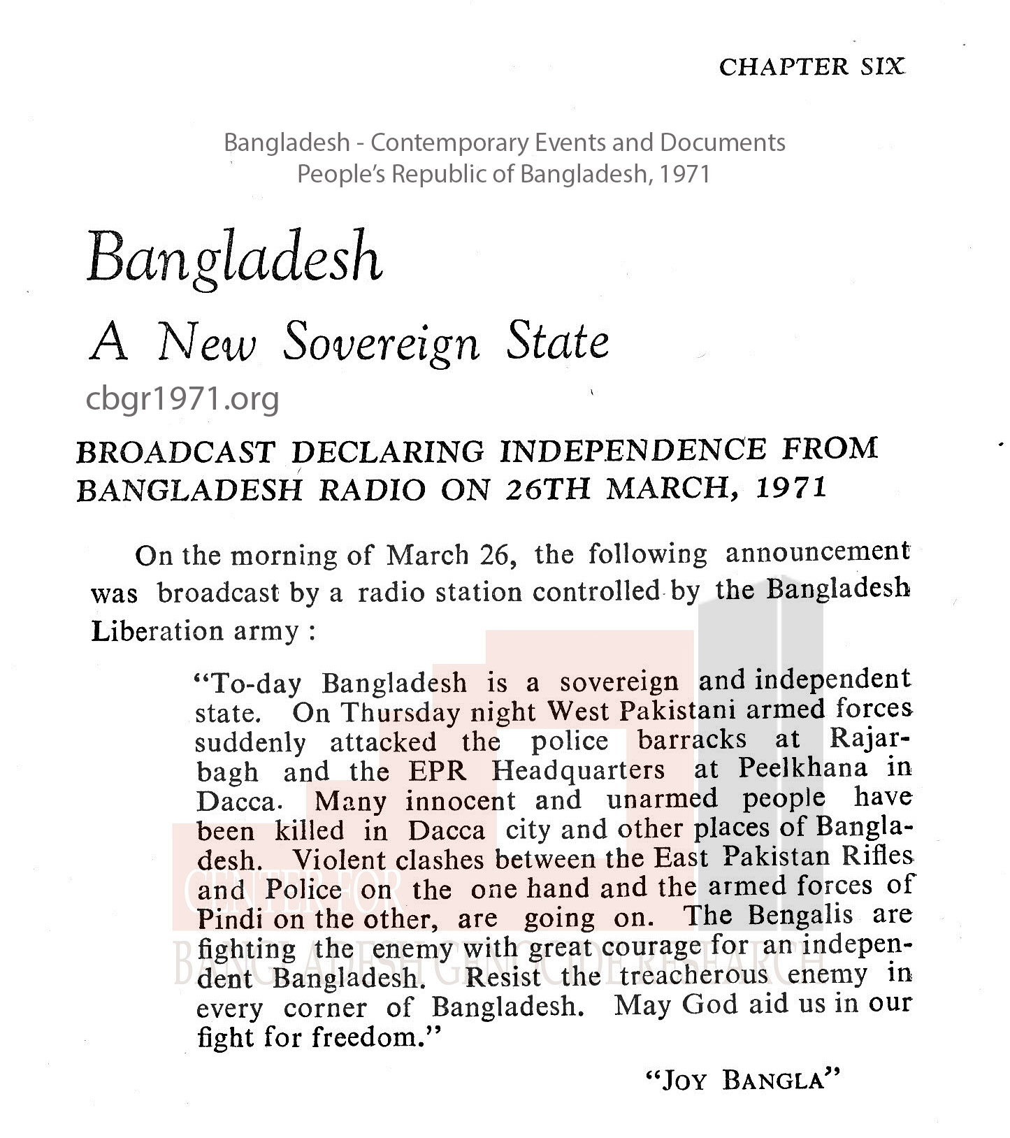 Bangladesh Contemporary Events and Documents